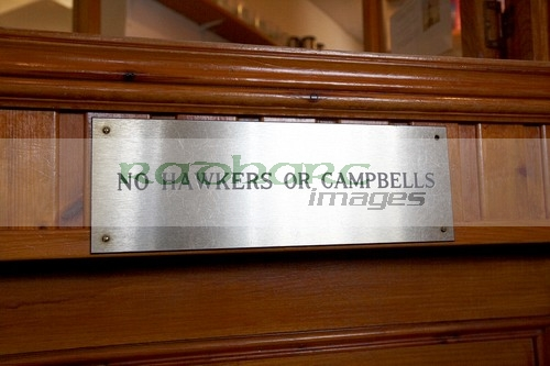 no hawkers campbells sign clachaig inn glencoe scotland