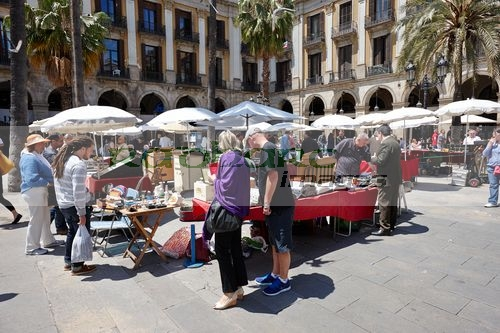 coin and stamp collectors market on sunday in placa reial barcelona catalonia spain