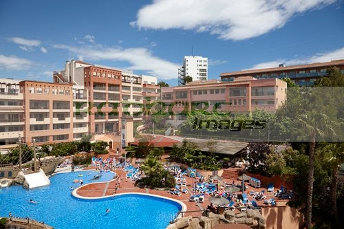 modern spanish resort hotel complex with pool in cap de salou, catalonia, spain
