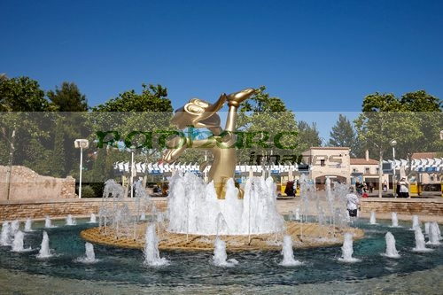 woody woodpecker fountain at entrance to portaventura theme park salou, catalonia, spain