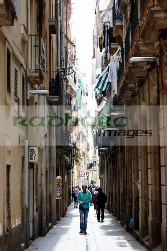 narrow streets in the el raval district of cuitat vella Barcelona Catalonia Spain