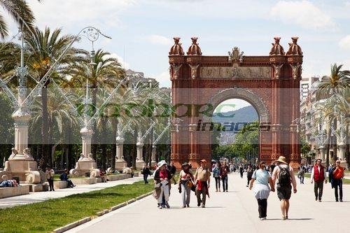 arc de triomf on Passeig de Lluis companys promenade Barcelona Catalonia Spain