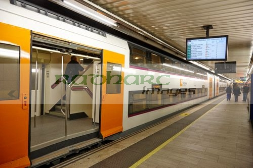 R2 Rodalies de Catalunya train in passeig de gracia underground main line train station Barcelona Catalonia Spain