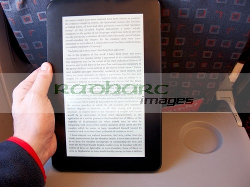 flying - ebook reader on a plane