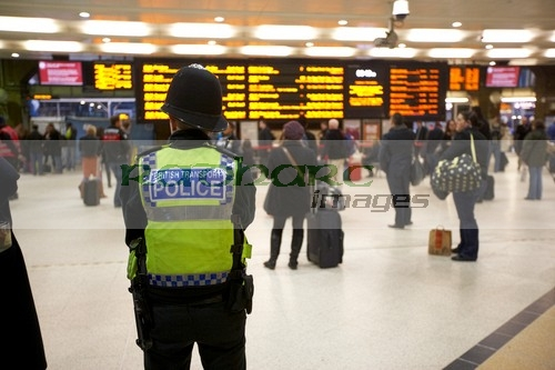 British Transport police policeman at Kings Cross station
