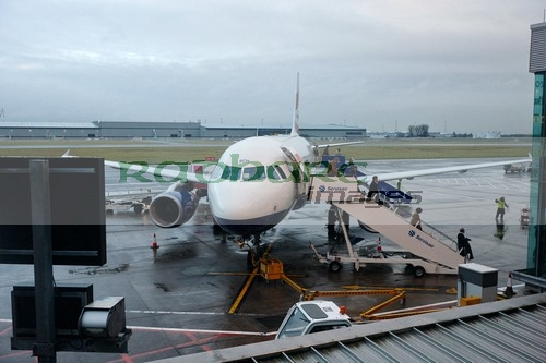 British Airways plane unloads at wet Belfast City Airport