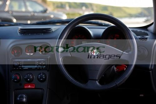 steering wheel and interior of an Alfa Romeo 156