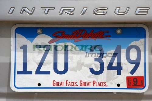 South Dakota license licence number registration plate
