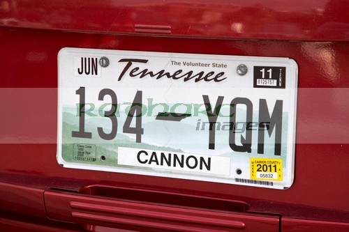 Tennessee license licence number registration plate