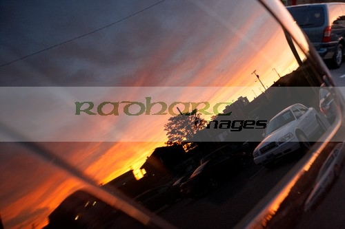 sunset reflected in car window Nashville Tennessee