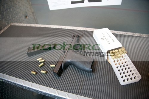 smith and wesson 9mm handgun at the range