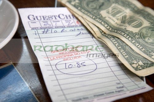 guest check bill with tip in the usa