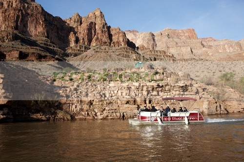 boat trip along the Colorado river at the bottom of the Grand Canyon